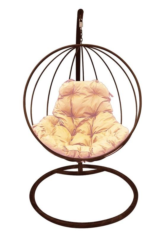 Фото №3 Подвесное кресло-кокон КРУГЛОЕ коричневое + каркас