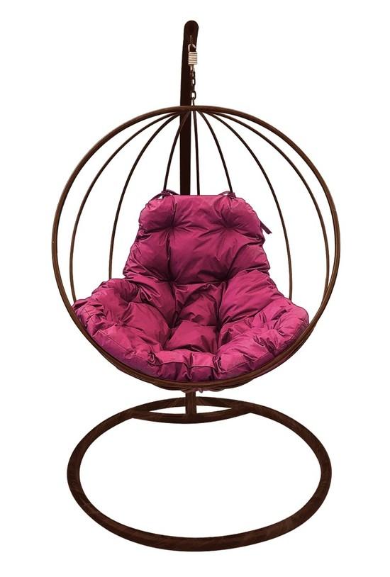 Фото №4 Подвесное кресло-кокон КРУГЛОЕ коричневое + каркас