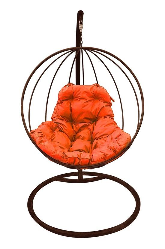 Фото №6 Подвесное кресло-кокон КРУГЛОЕ коричневое + каркас