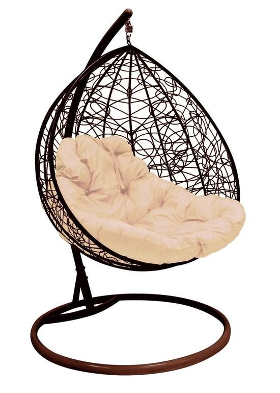 Фото №3 Подвесное кресло-кокон ДЛЯ ДВОИХ РОТАНГ коричневое + каркас