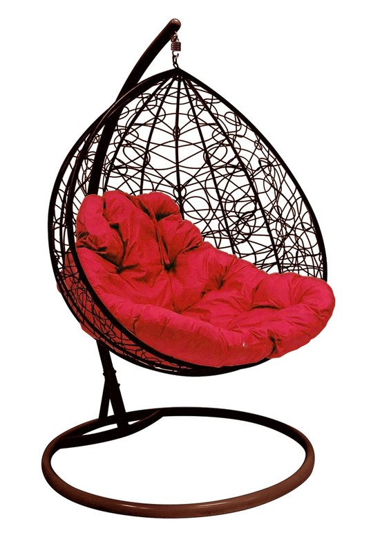 Фото №5 Подвесное кресло-кокон ДЛЯ ДВОИХ РОТАНГ коричневое + каркас