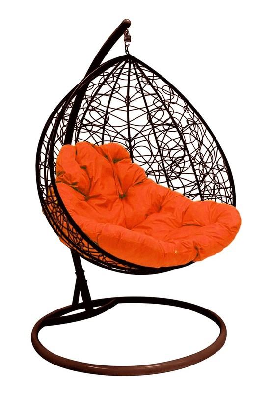 Фото №6 Подвесное кресло-кокон ДЛЯ ДВОИХ РОТАНГ коричневое + каркас