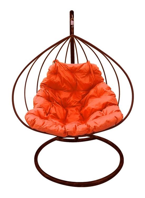 Фото №6 Подвесное кресло-кокон ДЛЯ ДВОИХ коричневое + каркас