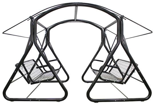 фото Садовые качели шестиместные  ТЕТ-А-ТЕТ 63 мм Серый