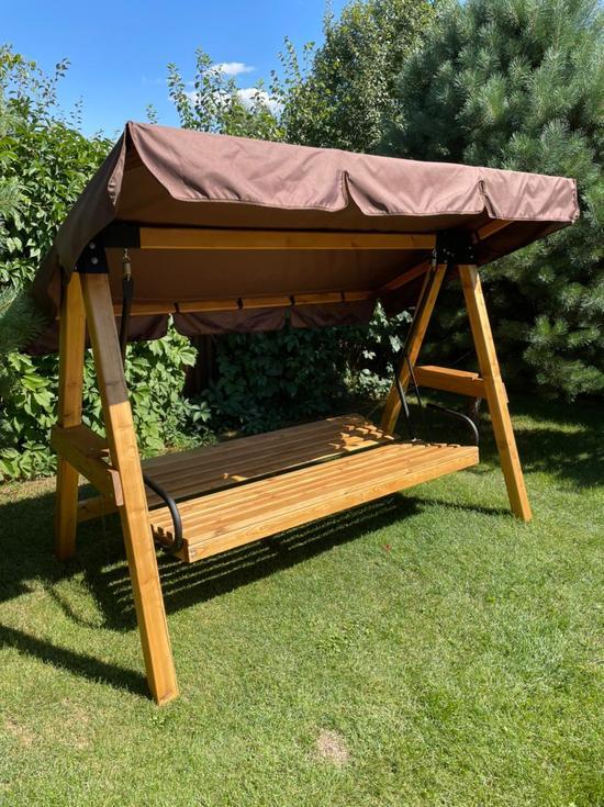 фото Садовые четырехместные деревянные качели ЛАРИКС 4.0 лиственница