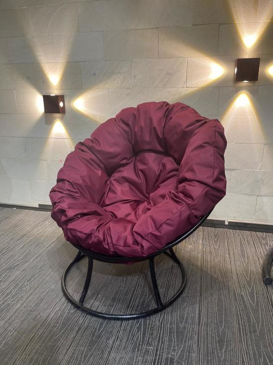 Фото №2 Кресло «Папасан» Стандарт Бордовая подушка