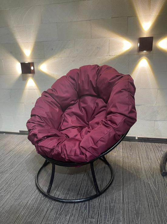 Фото №3 Кресло «Папасан» Стандарт Бордовая подушка