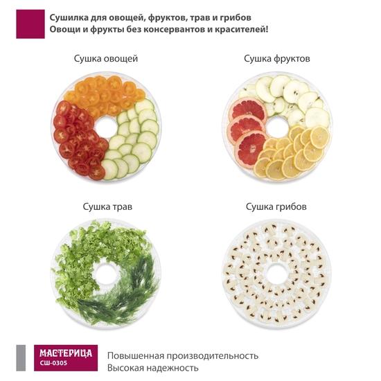 Фото №5 Сушилка для овощей Мастерица СШ-0305, 150Вт, белая