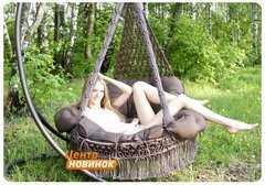 """Фото №3 Подвесное кресло - гамак """"ARENAL"""" с подушками (светло коричневый)"""