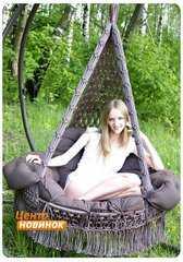 """Фото №4 Подвесное кресло - гамак """"ARENAL"""" с подушками (светло коричневый)"""