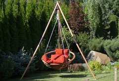 Фото №3 Подвесное деревянное кресло качели с подушками - комплект МАЙЯ SET