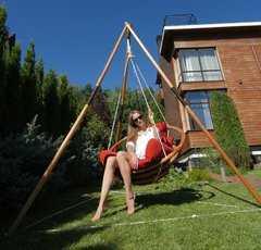 Фото №4 Подвесное деревянное кресло качели с подушками - комплект МАЙЯ SET