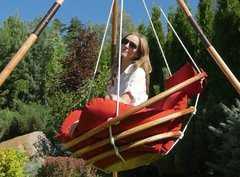 Фото №9 Подвесное деревянное кресло качели с подушками - комплект МАЙЯ SET