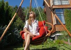 фото Подвесное деревянное кресло качели с подушками - комплект МАЙЯ SET