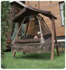 Фото №8 Подвесное кресло качели SEARA в комплекте с подушками (без каркаса)