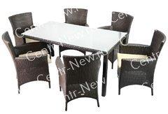 фото Комплект мебели обеденный Мирисса из искусственного ротанга (коричневый)