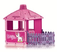 фото Детский игровой домик для девочек c забором (единорог)