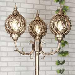 фото Уличный трехрожковый светильник на столбе Sirius F/3 черное золото