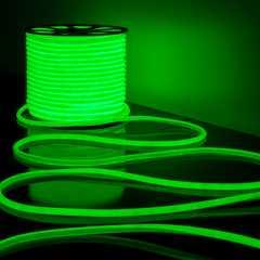 фото Светодиодный гибкий неон LS003 220V 9.6W 144Led 2835 IP67 круглый зеленый 6500К