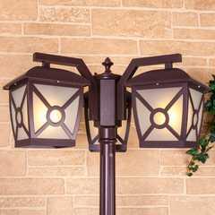 фото Columba F/3 коричневый уличный трехрожковый светильник на столбе IP33 GL 1022F/3
