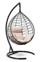 фото Подвесное кресло-кокон ALICANTE черное с золотом + каркас