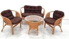 фото Комплект кофейный БАГАМА New Wicker (стол, 2 кресла и диван), подушки ткань твил
