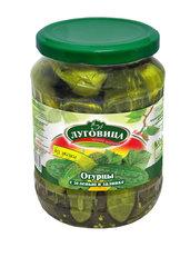фото Огурцы Луговица консервированные с зеленью в заливке на лимонке 680 г