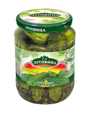 фото Огурцы консервированные Луговица с зеленью в заливке на лимонке 670 г