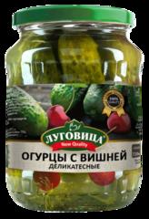фото Огурцы Луговица New Quality маринованные с вишней в/с