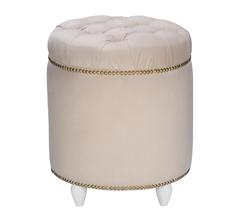 фото Пуф Classic-02 круглый, ткань Велюр Молочный / ножки белые