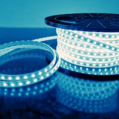 фото Светодиодная лента LS004 220V 4,8W 60Led 2835 IP65 синий, 50 м
