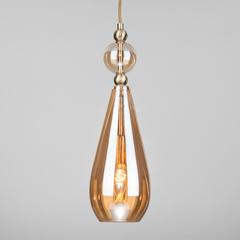 фото Подвесной светильник со стеклянным плафоном 50202/1 янтарный