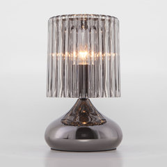 фото Настольная лампа со стеклянным абажуром 01068/1 черный жемчуг
