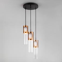 фото Подвесной светильник со стеклянными плафонами 50087/3 черный/бронза