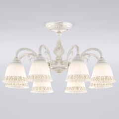 фото Классическая люстра со стеклянными плафонами 60107/8 белый с золотом