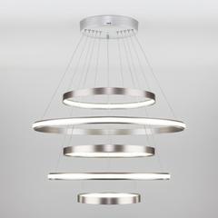 фото Подвесной светодиодный светильник с пультом управления 90179/5 сатин-никель