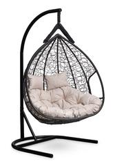фото Подвесное двухместное кресло-кокон FISHT черное + каркас