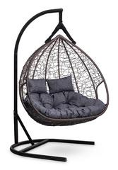 фото Подвесное двухместное кресло-кокон FISHT коричневое + каркас