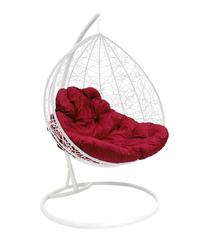 """фото Подвесное кресло """"Для двоих"""" Ротанг, с бордовой подушкой Белое"""
