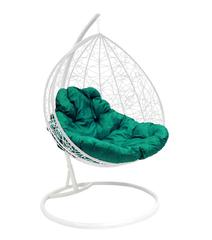 """фото Подвесное кресло """"Для двоих"""" Ротанг, с зелёной подушкой Белое"""