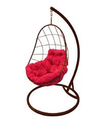 """фото Подвесное кресло """"Овал"""" с малиновой подушкой Коричневое"""