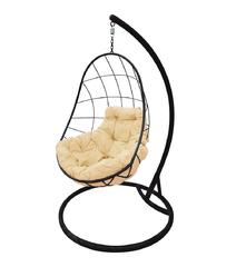 """фото Подвесное кресло """"Овал"""" с бежевой подушкой Черное"""