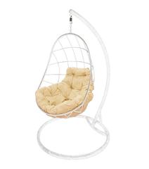"""фото Подвесное кресло """"Овал"""" с бежевой подушкой Белое"""