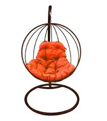 """фото Подвесное кресло """"Круглое"""" с оранжевой подушкой Коричневое"""