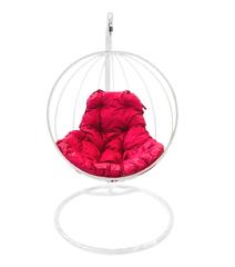 """фото Подвесное кресло """"Круглое"""" с малиновой подушкой Белое"""