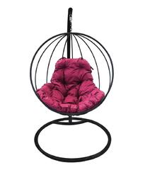 """фото Подвесное кресло """"Круглое"""" с бордовой подушкой Черное"""