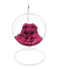 """фото Подвесное кресло """"Круглое"""" с бордовой подушкой Белое"""