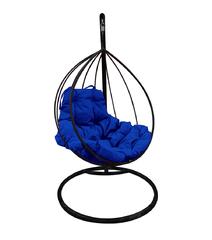 """фото Подвесное кресло """"Капля"""" с синей подушкой Черное"""