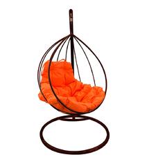 """фото Подвесное кресло """"Капля"""" с оранжевой подушкой Коричневое"""