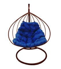 """фото Подвесное кресло """"Для двоих"""" с синей подушкой Коричневое"""